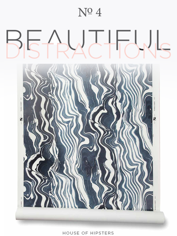 Beautiful Distractions No. 4 - Rebecca Atwood Navy Marble Wallpaper